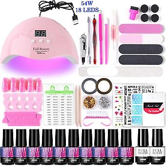 Uv Led Lamp Set With Nail Gel Polish, Varnish Soak Off Manicure Kit