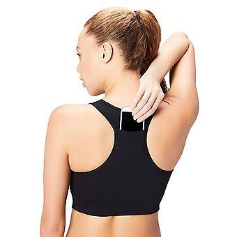 Core 10 Women's Plus Size Longline Pocket Sports Bra, Black, 1X (14W-16W)
