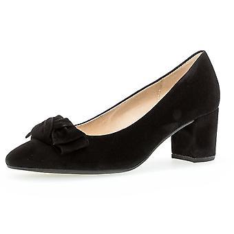 غابور كيش كتلة كعب المحكمة الأحذية في جلد الغزال الأسود