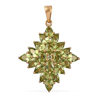 Peridot Cluster Hanger voor Dames Sterling Zilver 14ct Gold Plated, 5.655 Ct TJC
