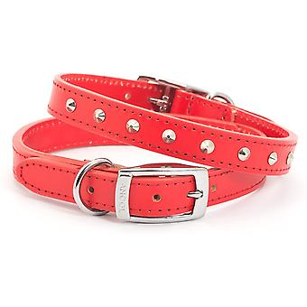 Ancol Heritage Pelle Borchiata Collare - Rosso - 16mm x 26-31cm (Dimensione 2)