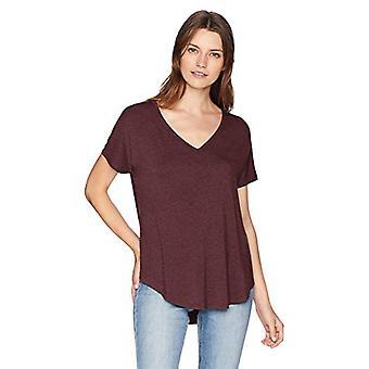 Brand - Daily Ritual Women's Jersey Short-Sleeve V-Neck Longline T-Shirt, purple heather, Large