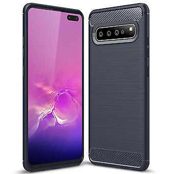 Carbon Fiber Shell for Samsung Galaxy S10 Mobile Armor Rubber Shockproof Navy Blue