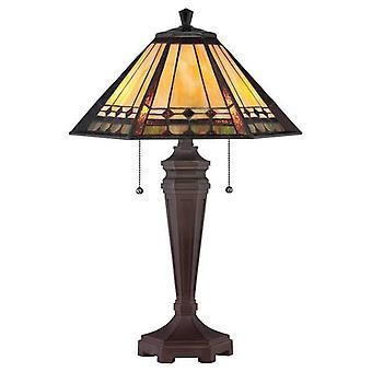 2 Ljus Tiffany Skrivbord Lampa Brons, E27
