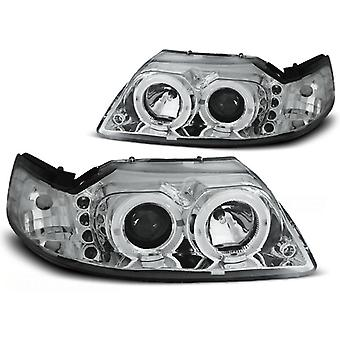 Phares double jantes halo FORD MUSTANG 98-04 ANGEL EYES CHROME