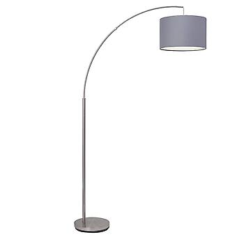 BRILLIANT Lampe Clarie Lampe à arc 1,8m en fer/gris | 1x A60, E27, 60W, convient pour les lampes normales (non inclus)