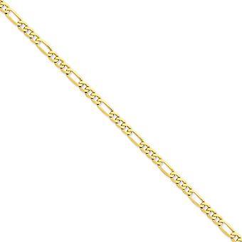 14k giallo oro lucido aragosta artiglio chiusura 5,25 mm piatto Figaro catena bracciale - lunghezza: 7-9