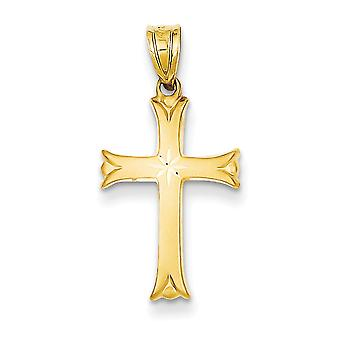 14k Yellow Gold Solid Satin Hollow Polished back Sparkle-Cut Cross Pendant - Measures 18x12mm