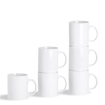 Argon Tableware 6 Piece White Tea and Coffee Mug Set - Classic Porcelain Hot Drink Mugs Cups - 285ml