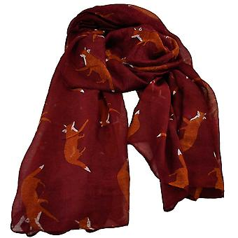 Ties Planet Fox Animal Print Bourgogne Lightweight Women's Châle Scarf