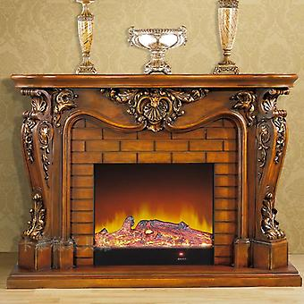 European Style Wooden Mantel Plus Electric Burner Deluxe Fireplace Set