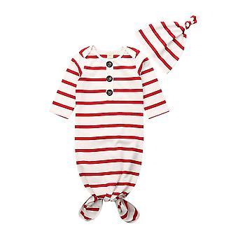 Newborn Baby Girls Boys Stripe Swaddle, Wrap Blanket, Sleeping Bag Romper+hat