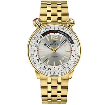 Gevril Men's 48565 Wallabout Automatic Silver Dial Gold IP Steel Date Watch