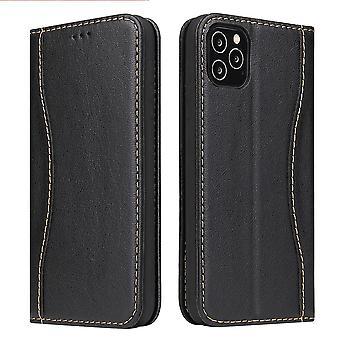 IPhone 12 Pro / 12 -kotelon musta fierre shan aito cowhide-nahkalompakon kansi