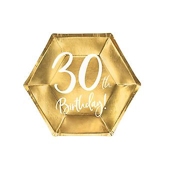 Gold 30th Birthday Party Farfurii De Hârtie Partyware 20cm x 6