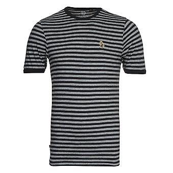 Luke 1977 Zucci All Over Black & Mid Marl Grey Stripe T-Shirt