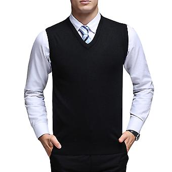 YANGFAN Mens V Neck Solid Color Waistcoat Vest Knitted Sweater
