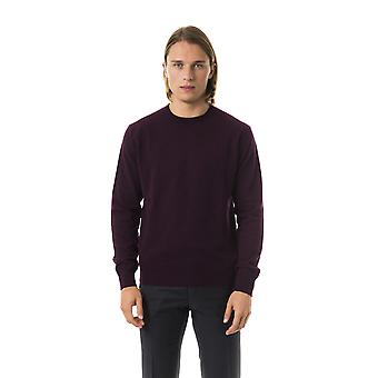 Uominitaliani Prugna Violet Crew Neck Sweater