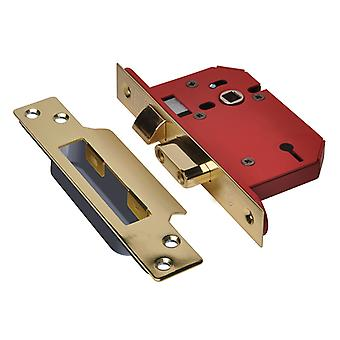 "UNION StrongBOLT 2203S 3 Lever Mortice Sashlock Polished Brass 68mm 2.5"" Visi"
