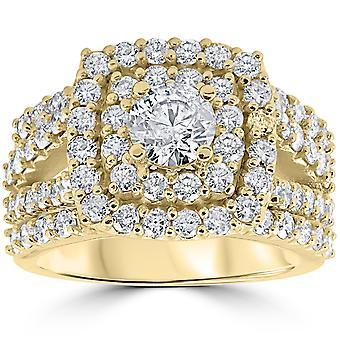 3ct Diamond Engagement Wedding Double Cushion Halo Trio Ring Set 10k Yellow Gold