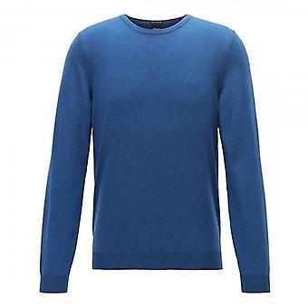 Hugo Boss Botto-L Fine Knit Crew Neck Jumper Mid Blue 417 50435442