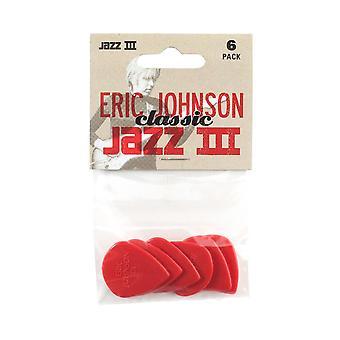 Jim dunlop 47pej3n eric johnson classic jazz iii player's guitar picks (pack de 6)