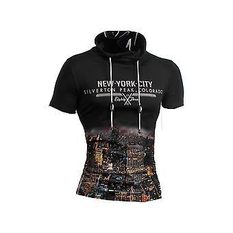 T-skjorte hettegenser kort erme høy hals kroppen-bevisste strekk Slim Fit Silverton byen