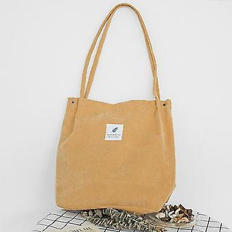 Corduroy Canvas Shoulder Bags, Foldable Shopping Bag Cotton Lining Pouch