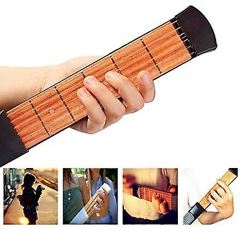 Pocket Guitar Practice Tool/neck 6fret Portable Travel Mini Guitar Chord Trainer
