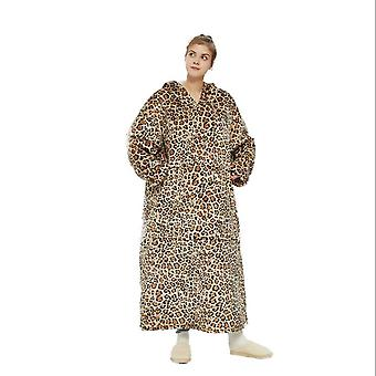 Women's Thickened Plus Velvet Lengthened Warmth Leopard Lamb Velvet Double Autumn And Winter Home