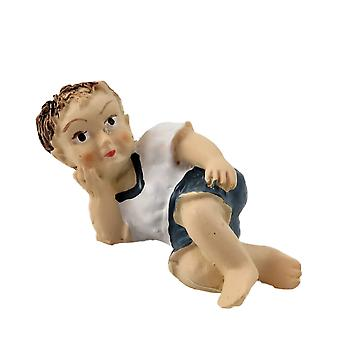 Dolls House Little Boy Lying Down White Top 1:12 People Resin Modern Figure