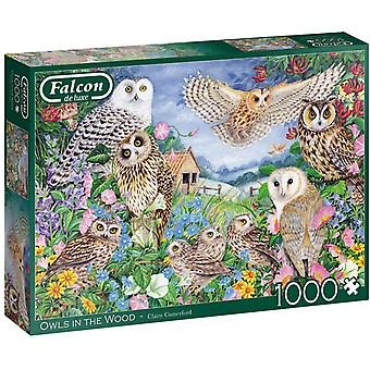 Falcon De Luxe Puzzle 1000 Piece Owls In The Wood