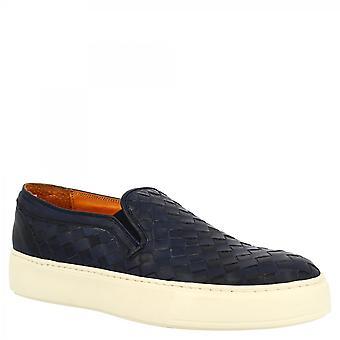 ليوناردو أحذية الرجال & apos;ق اليد جولة أخمص العجل زلة على الأحذية المتسكعون في جلد العجل المنسوجة الزرقاء مع نعل أبيض
