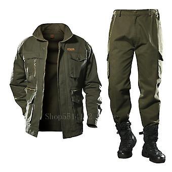 Puuvilla military cargo housut set, taktinen naamiointi monikamera taistelupommittaja