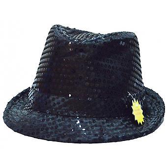Glitterhoed Led Unisex Zwart One Size