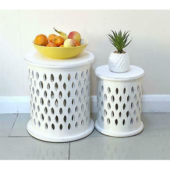 Set Of 2 White Round Carved Pillar Coffee Table