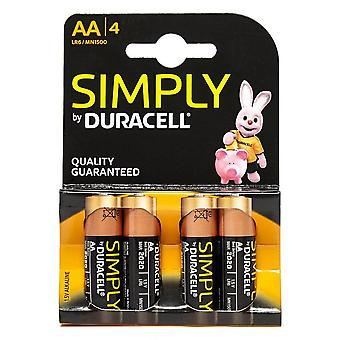 New DURACELL Simply AA Batteries - 4 pack Black