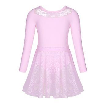 Filles Ballet Dance Gymnastics Lace Jupe Manches longues 2Pc 1Set 150cm Rose