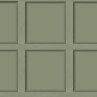 Modern houten paneel groen behang