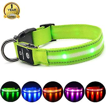 Masbrill led light up dog collar rechargeable and waterproof, flashing dog collar for night safety, wof50281