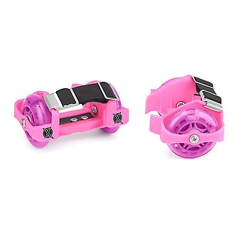 Xootz Heel Wheel Roller Skates Attachable Shoe Trainer Wheels for Kids Boys and Girls with LED Lights Pink/Purple