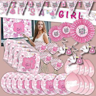 Festa pacote menina rosa nascimento menina crianças 68-teilig aniversário festa infantil