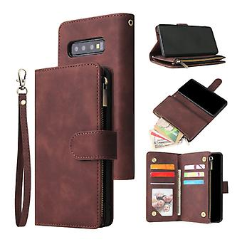 Stuff Certified® Samsung Galaxy S10 - Leather Wallet Flip Case Cover Case Wallet Coffee Brown