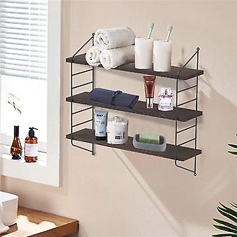 Adjustable 3 Tier Wall Floating Shelf With Metal Brackets Strong Bearing Shelves