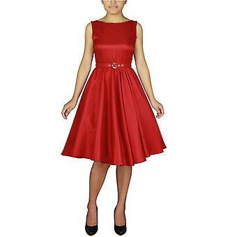 Chic Star Plus Size Satin Sleeveless Belted Dress In Red