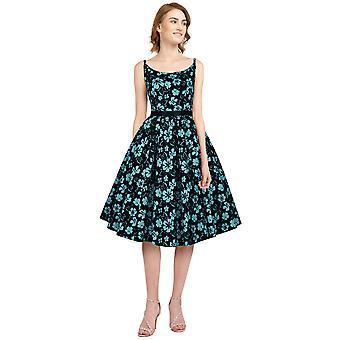 Tyylikäs tähtihihna retro mekko musta / kukka