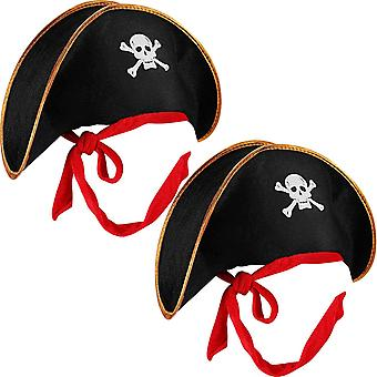 2 Pieces Pirate Hat Skull Print Pirate Captain Costume Cap Black Outfit Accessory for Caribbean