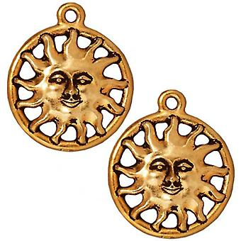 TierraCast 22K Gold Plated Pewter Radiant Sunshine Charm 20mm (1)