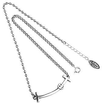S925 collana d'argento classico regalo festa della mamma per le donne una parola sorriso