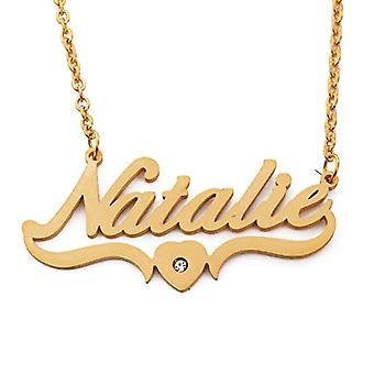 Kigu Natalie - Adjustable Necklace with Heart Shape Name, in Gold Plated Packaging 18 kt